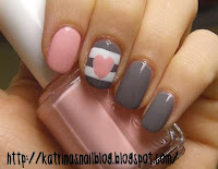 Heart striped Cute Nail Design