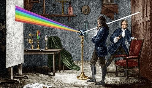 1665 और 1666 में किए गए प्रयोगों की एक श्रृंखला के माध्यम से, जिसमें एक संकीर्ण बीम के स्पेक्ट्रम को एक अंधेरे कक्ष की दीवार पर पेश किया गया था