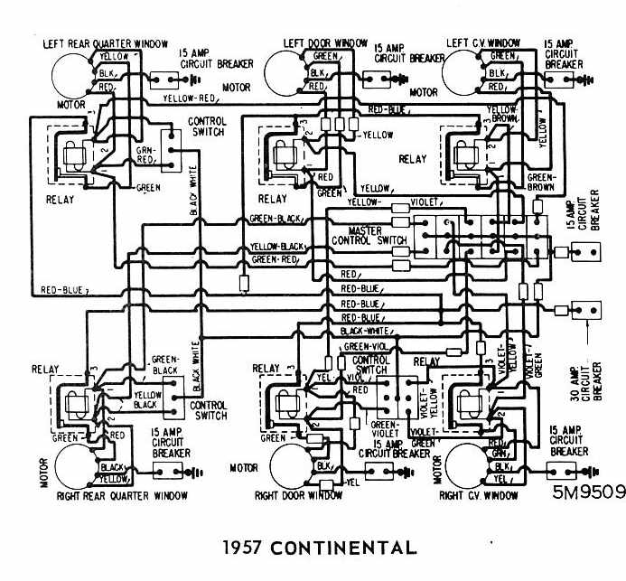 Lincoln Continental 1957 Windows Wiring Diagram | All
