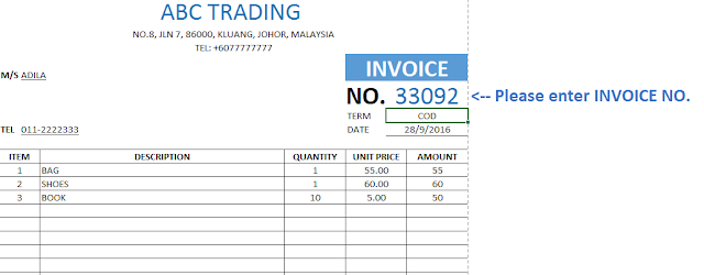Invoice Template Database dalam Microsoft Excel