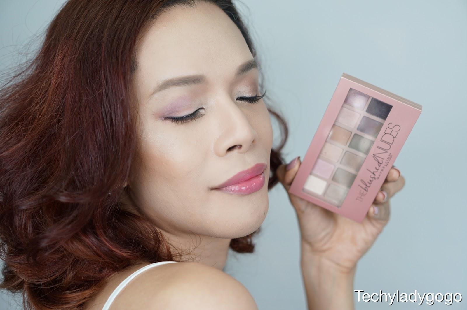 Techyladygogo รีวิว Maybelline The Blushed Nudes Eyeshadow Palette อายแชโดว์โทนนู้ดชมพู 12 เฉดสี โรสโกลด์