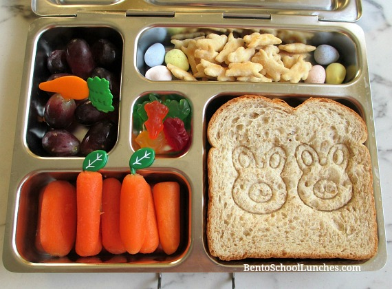 Easter bunny stamped sandwich lunch in a Planetbox