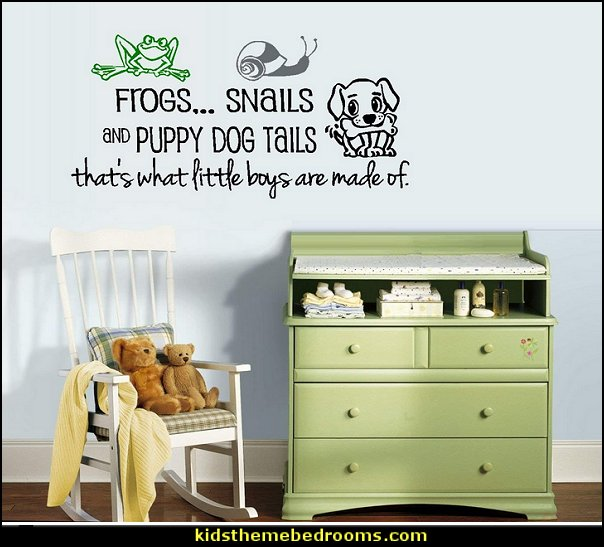 FROGS AND SNAILS AND PUPPY DOG TAILS WALL DECAL frog theme bedrooms - frog bedroom decor - frog theme decor - frog themed gifts - froggy wallpaper frog murals - frog wall decals - frogs in a pond wall decor -  Frog Prince decor - pond theme decals - frog duvet set - decorating frog theme - frog theme for baby nursery - frog pond baby nursery