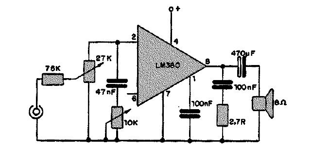Diagramas de Electronica: Circuito amplificador de 2,5 wats