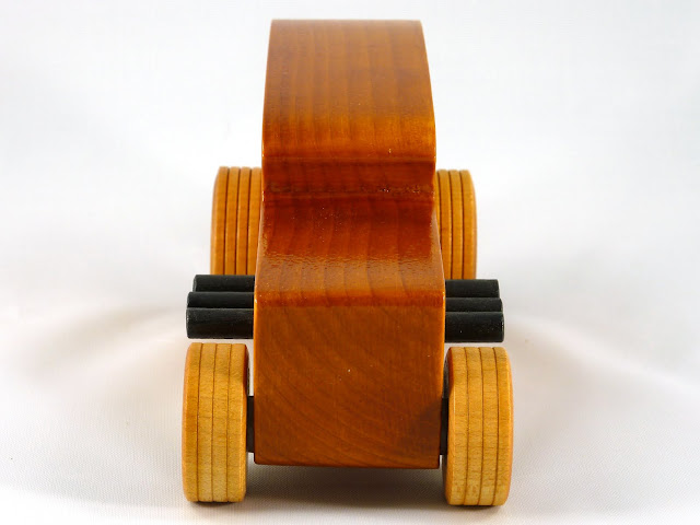 Front - Wooden Toy Car - Hot Rod Freaky Ford - 32 Sedan - Pine - Amber Shellac - Black Pipes - Metallic Blue Hubs