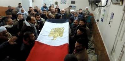 أهالى شبرا الخيمة يشيعون شهيد القليوبية بسيناء بهتافات منددة بالإرهاب