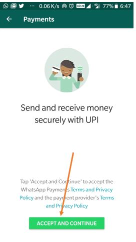 Send and receive money via secure UPI on WhatsApp payments