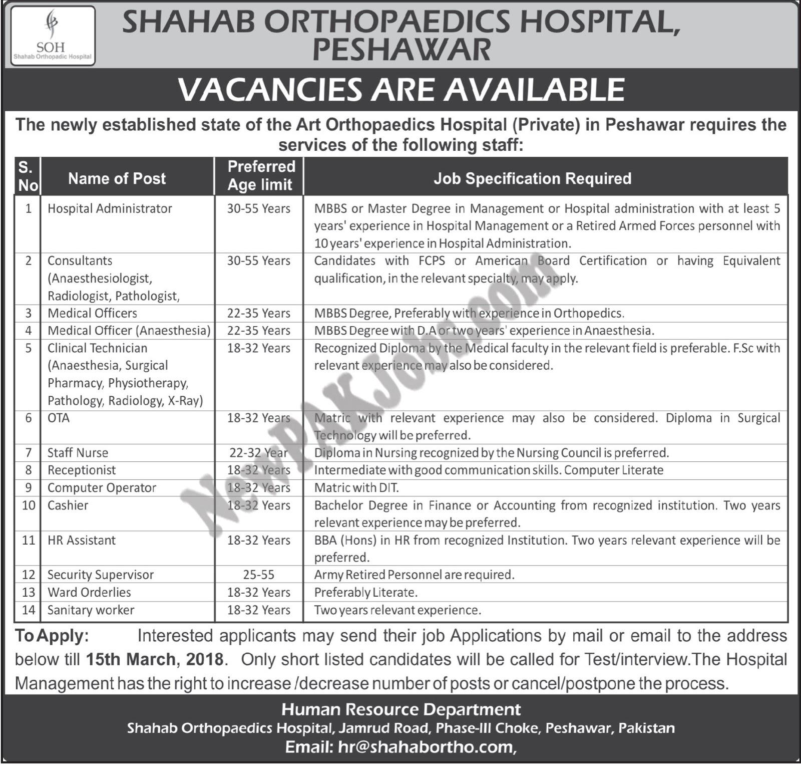 Latest Private Jobs in Shahab Orthopedic Hospital Peshawar