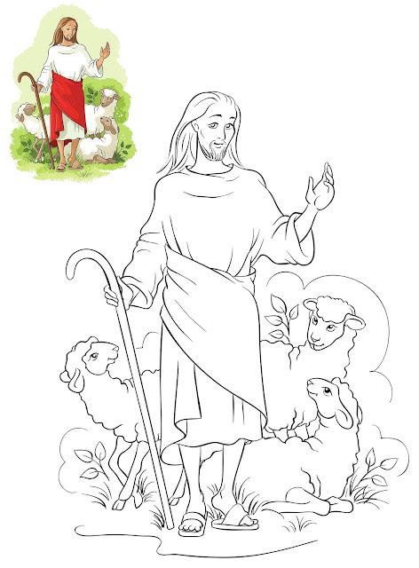 dibujo de Jesús con ovejas colorear