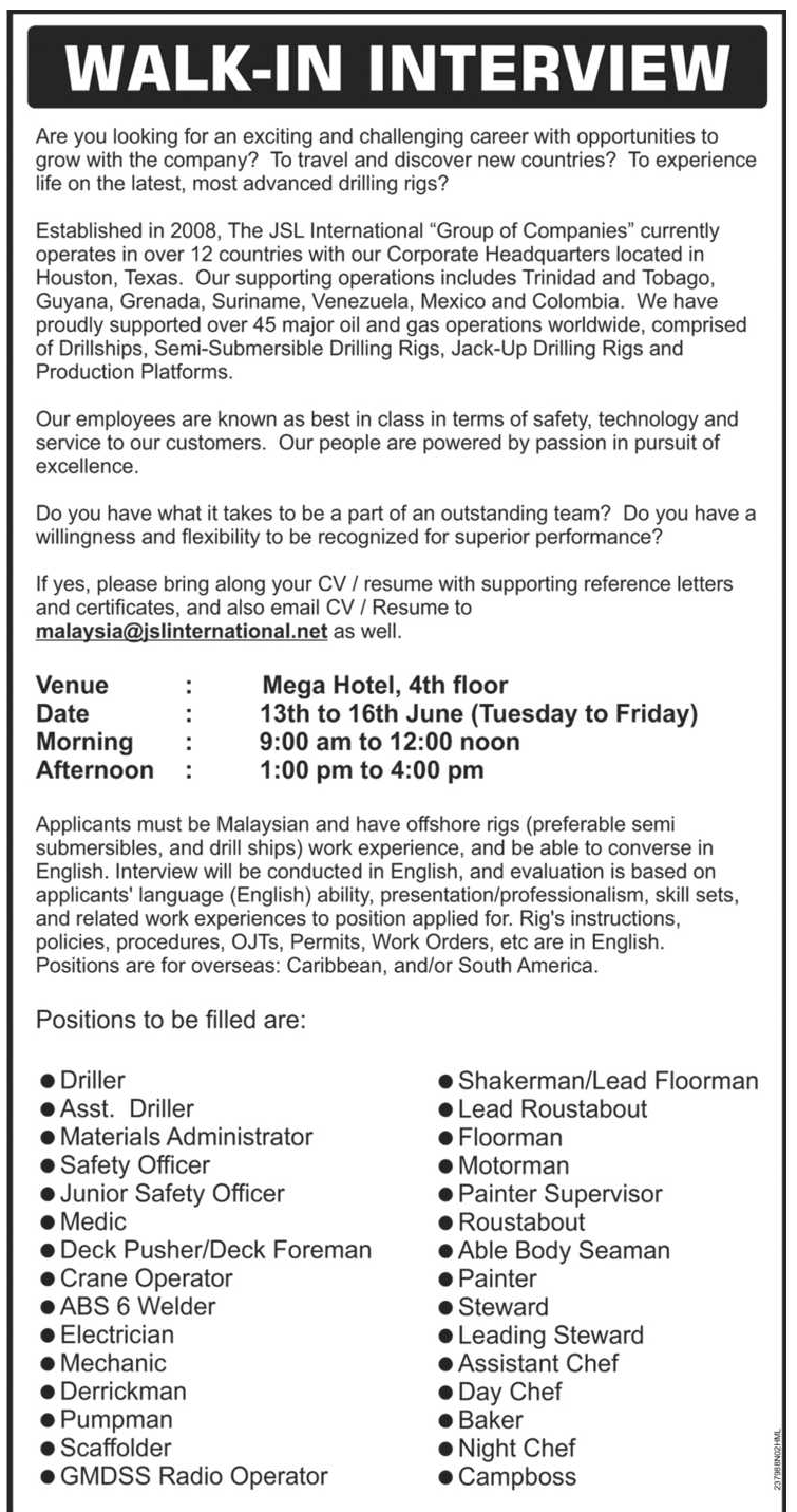 Oil &Gas Vacancies: Walk In Interview - Miri