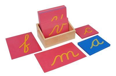 Montessori Sandpaper Letters in Cursive
