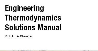 Engineering Thermodynamics Solutions Manual (English Book