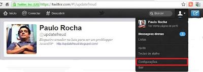 Perfil no Twitter de Paulo Rocha
