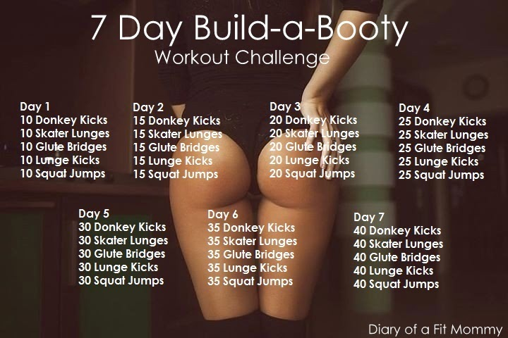 Continuing on from last weeks, 7 Day Muffin Top Workout Challenge, here is  your next challenge focusing on building a booty in no time.