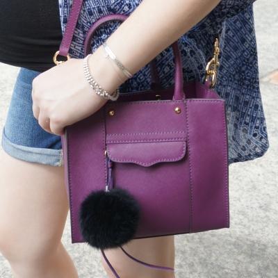 AwayFromTheBlue | Rebecca Minkoff mini MAB tote in plum worn on shoudler
