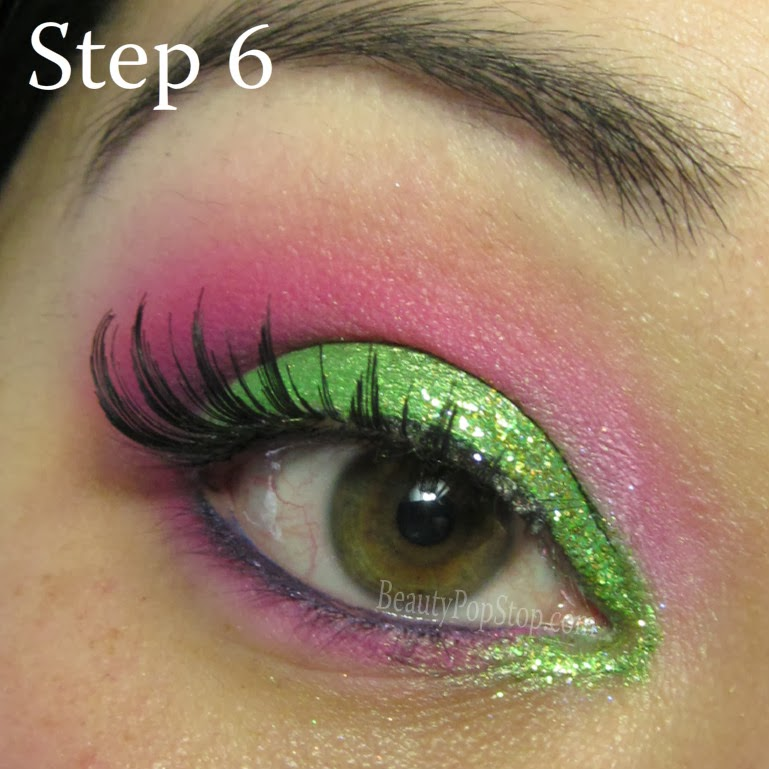 valentine's Day makeup tutorial using lit cosmetics lime squeeze glitter and faux lash false lashes