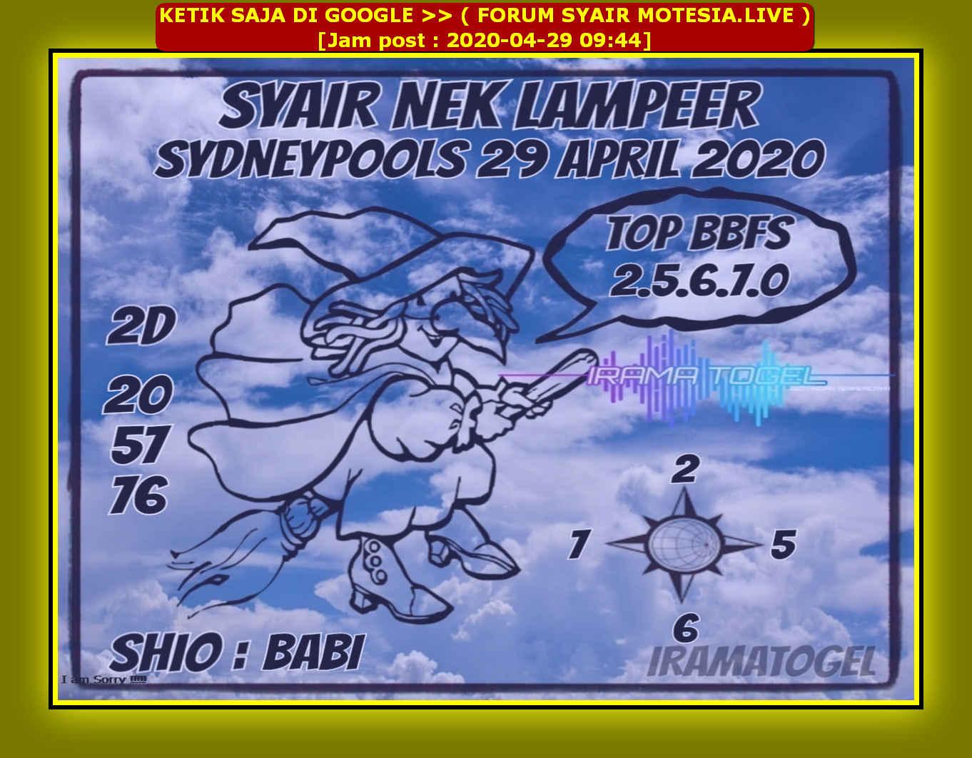 Kode syair Sydney Rabu 29 April 2020 70