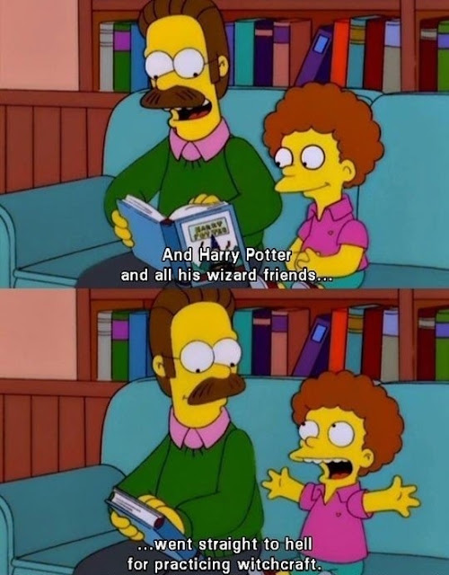 Ned Flanders talking about Harry Potter with Todd