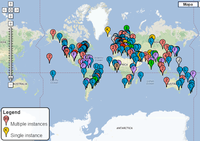 Servidores-raízes - Fonte: http://www.root-servers.org/map/