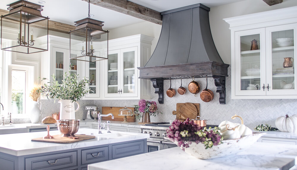 elegant farmhouse kitchen with white cabinets