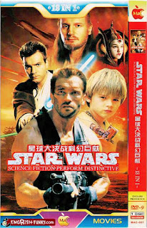 ripoff movie poster showing schwarzenegger in star wars