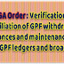 CGA Order: Verification / reconciliation of GPF withdrawals / advances and maintenance of manual GPF ledgers and broadsheets