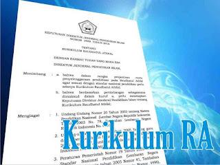 Direktur Jenderal Pendidikan Islam hasilnya tetapkan Keputusan Direktur Jenderal Pendidi Kurikulum RA 2016 (SK Dirjen Pendis No. 3489 Tahun 2016)