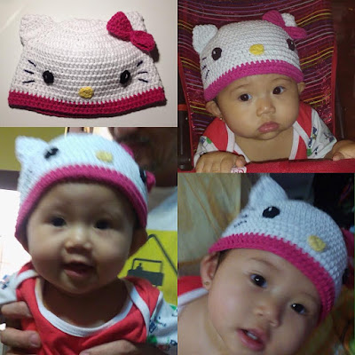 Modeled Hello Kitty Hat