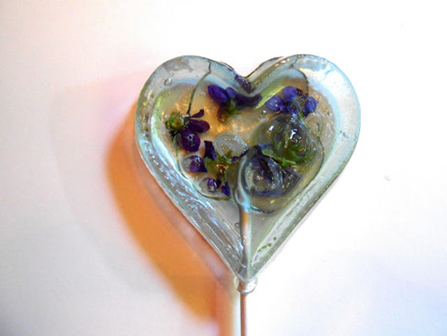 lollipops decorated with flower petals