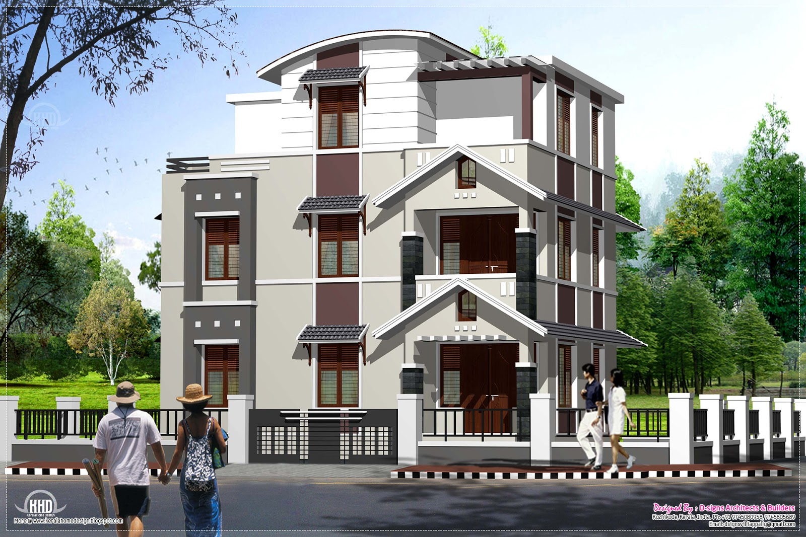 Front Elevation Of Three Storied Houses : Below sq feet storey villa in cents kerala home