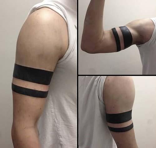erkek üst kol bandı dövmesi man upper arm armband tattoo