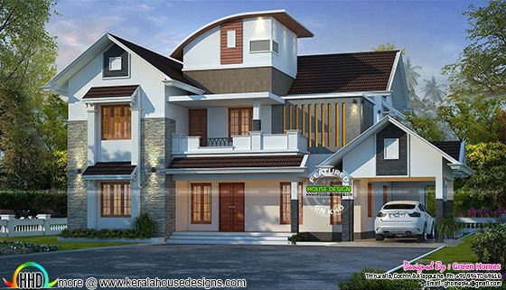 Curved roof mix modern home 2600 sq-ft