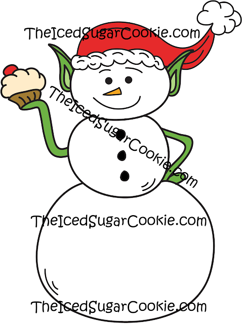 Commercial Use Snowman Elf Eating A Cupcake Christmas Clip Art TheIcedSugarCookie.com