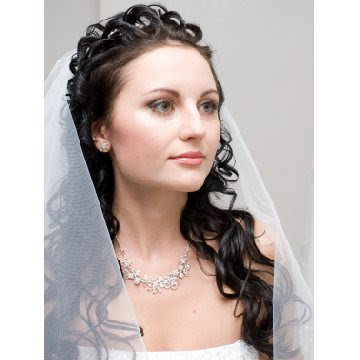 wedding hairstyles for long hair half up with veil 2012