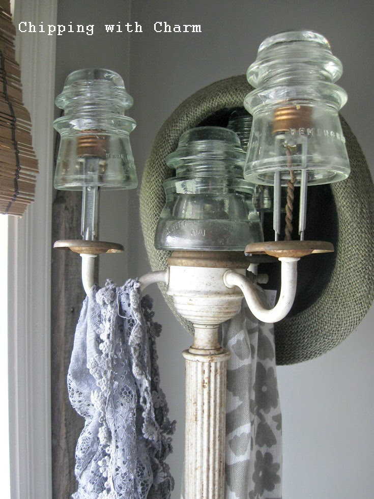 Chipping with Charm: Lamp Base to Hook Rack...http://www.chippingwithcharm.blogspot.com/