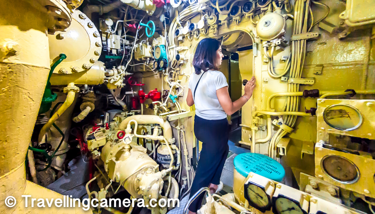 Here is Tanya moving to another section of the Kusura Submarine Museum in Vizag.
