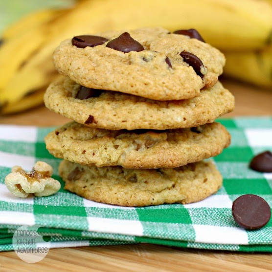 Stack of Chunky Monkey Cookies: bananas, walnuts, and chocolate