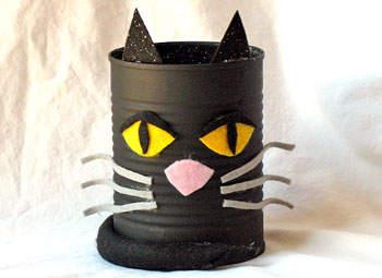 Manualidades halloween lapicera gato negro