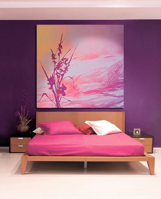 tete de lit déco pourpre rose et orange