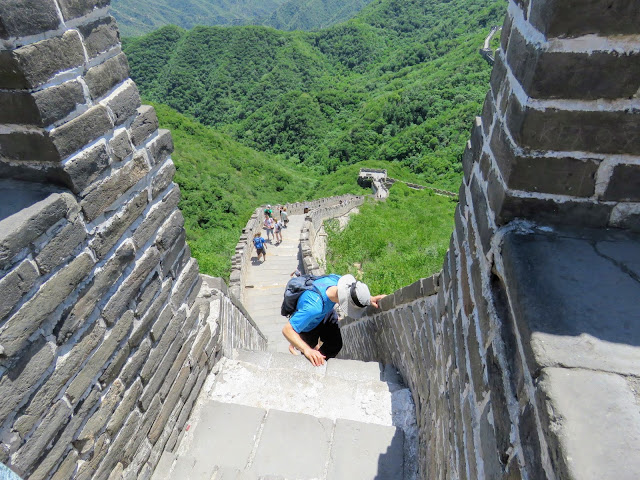 Climbing up to Tower 24 at the Mutianyu Section of the Great Wall of China