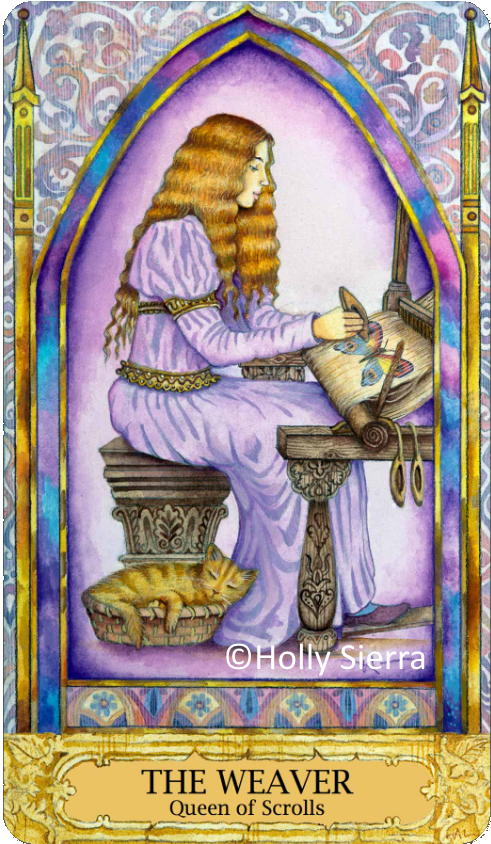 Chrysalis Tarot The Weaver, Queen of Scrolls, Queen of Swords, Holly Sierra