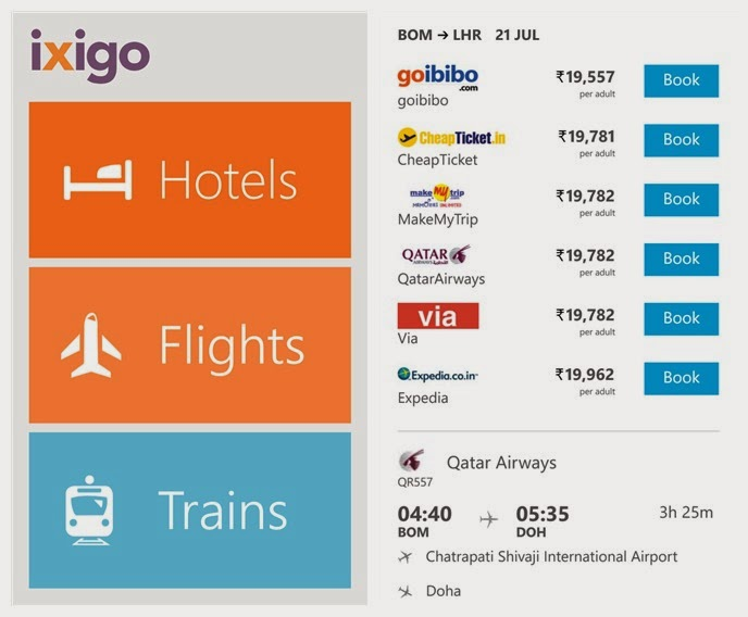 ixigo Travel App for Windows
