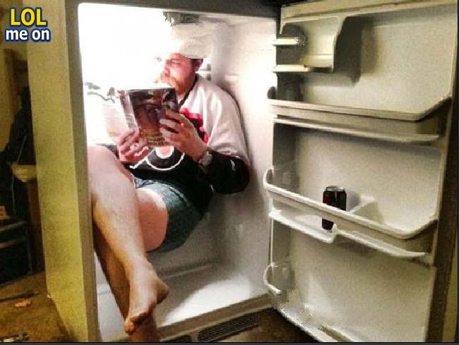 "funny like a boss picture a man set in the fridge from ""LOL me on"""