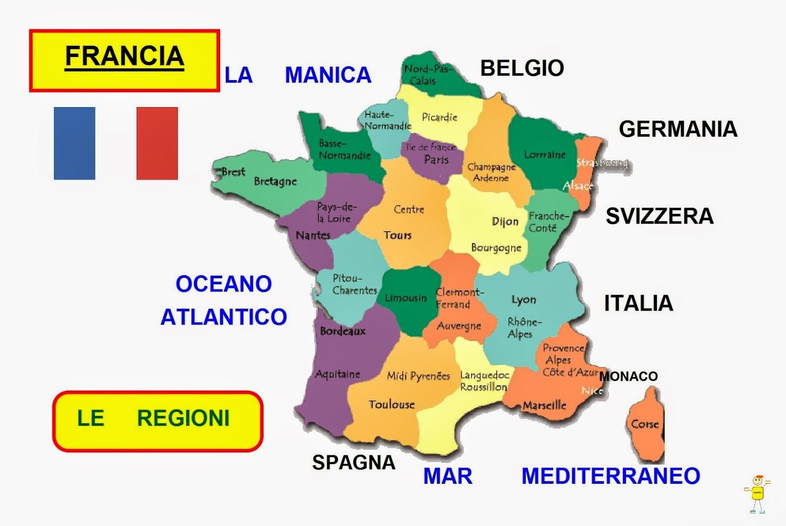 Cartina Politica Francia Con Regioni E Capoluoghi.Mappa Concettuale Francia Le Regioni Scuolissima Com