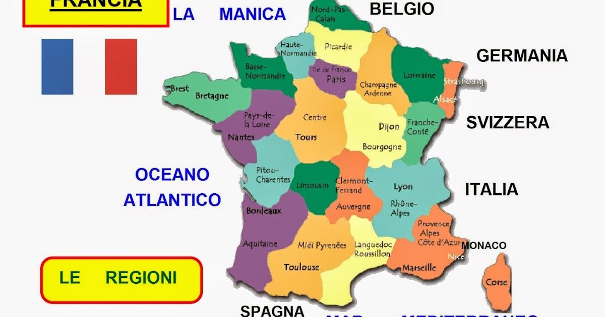 Dipartimenti Francia Cartina.Mappa Concettuale Francia Le Regioni Scuolissima Com