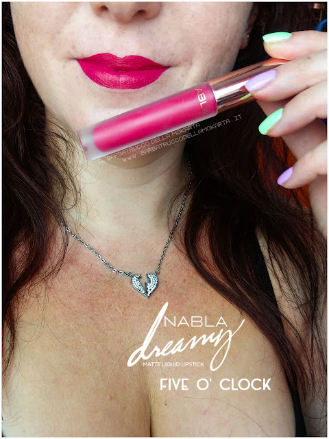 five o' clock Dreamy Matte Liquid Lipstick rossetto liquido nabla cosmetics applicazione mouth labbra