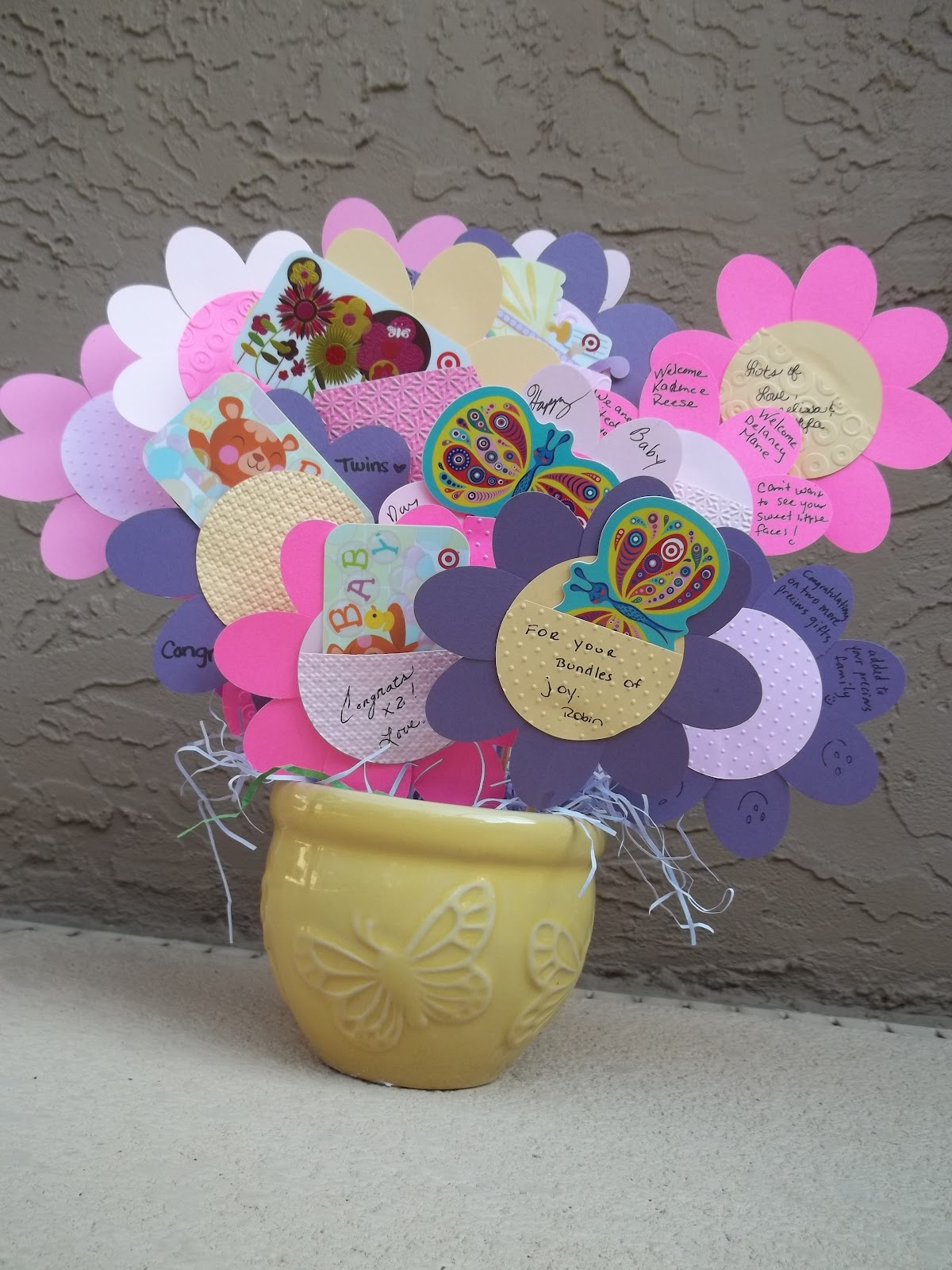inside the green door baby shower gift card flower bouquet