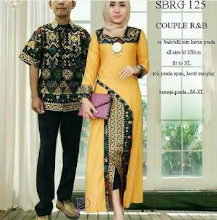Batik Pasangan SBRG 125 Couple Gamis Kebaya Modern Mustard