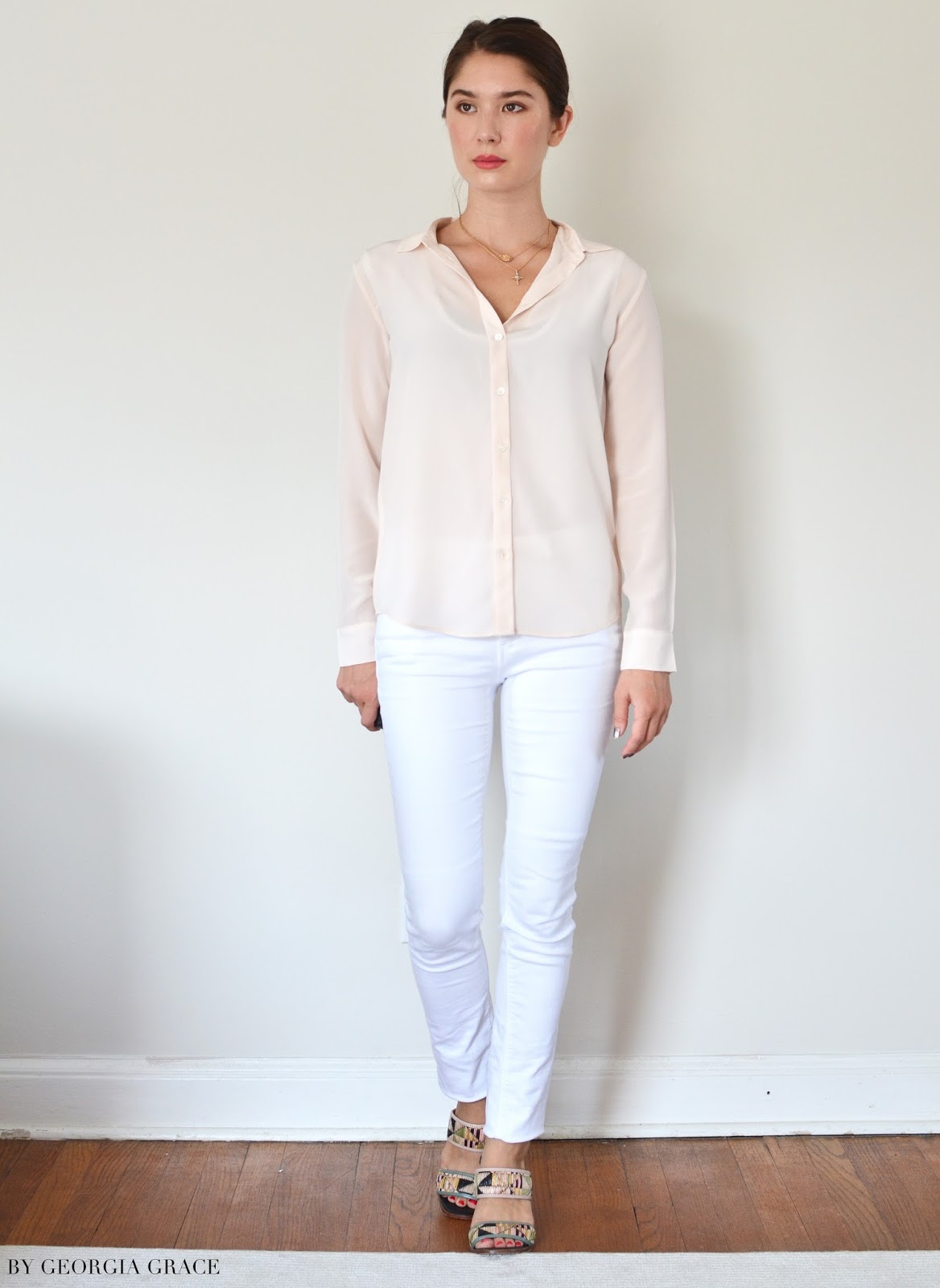 bb355f3a02 I got the Slim Silk Shirt ($78) in Pale Pink, size 00, and it's a perfect  fit for my 100 lbs., 5'2″ petite frame. The shirt is a slimmer, ...
