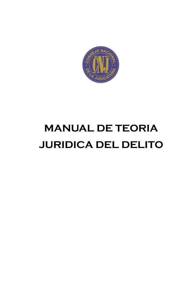 Manual de teoría jurídica del delito